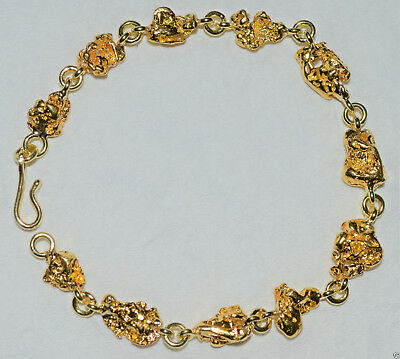 GOLD NUGGET BRACELET NATURAL 29.255g  Palmer River Qld  with 18ct Clasp & Links