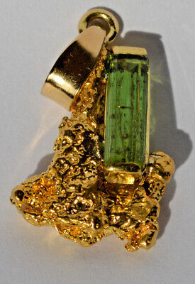 GOLD NUGGET PENDANT NATURAL & 2.55ct MID GREEN TOURMALINE  & 18ct BALE