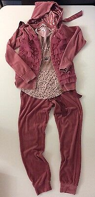 Miss Grant 3 Piece Tracksuit Hoodie Bottoms Top Age 13/15 Years 42 Velour Ruffle