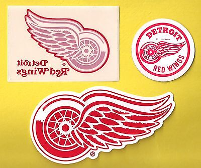 Detroit Red Wings NHL Hockey Team Logo Decal Stickers Lot of (3)
