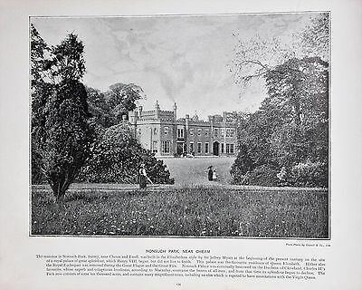 Antique London Print in B/W c.1896 - Nonsuch Park, Cheam (234)