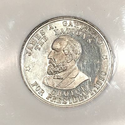1881 Mint State Proof Ultra Cameo James Garfield Medal Token Coin