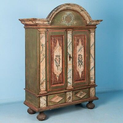 Antique 18th Century Danish Baroque Armoire with Original Polychrome Paint