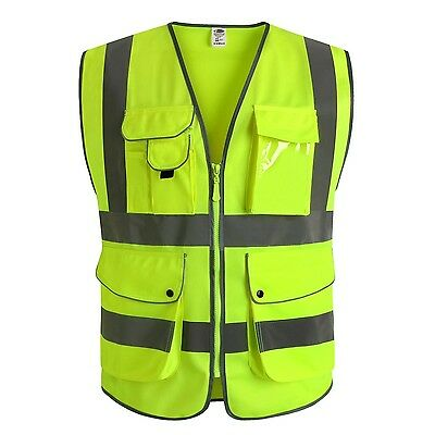 J.K 9 Pockets Class 2 High Visibility Zipper Front Safety Vest With Reflectiv...