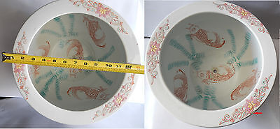 2 Vintage Porcelain Chinese  Bowl - Gold Fish Large Planters