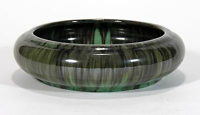 "Fulper Pottery arts & crafts green & black flambe 9"" bowl"