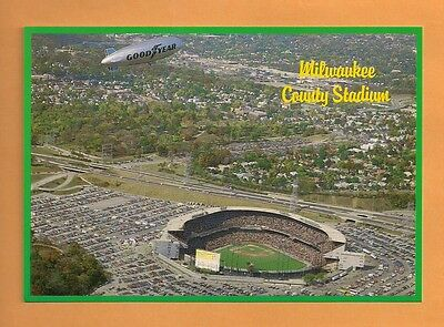 County Stadium Milwaukee Brewers - MLB Baseball Postcard - Goodyear Blimp