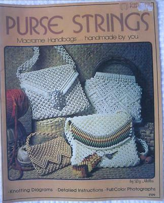 Vintage Retro 1976 Macrame Pattern Book Purse Strings Handbags Purses Etc