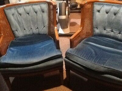 Two Matching Vintage Chairs Blue Cushion Wood Still In Great Shape