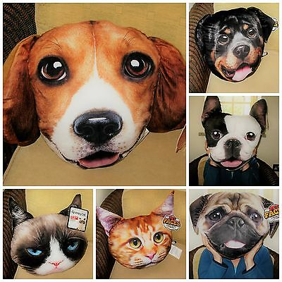 Pet Faces Soft Face Shaped Cushions Dog and Cat Design Novelty Birthday Present
