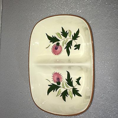 Mid-Century Stangl Pottery Oval Thistle Divided Vegetable Bowl Vintage