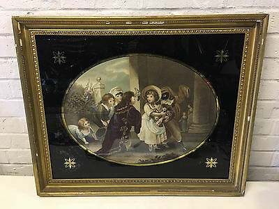 Antique Mezzotint Print Titled The Mask w/ Children Decoration in Gold Frame