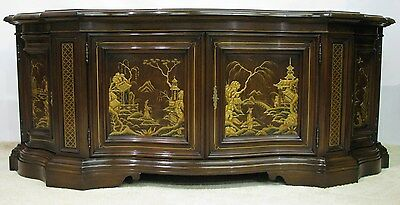 Stunning Karges Furniture Venetian Dark Walnut Buffet, Gilt Chinoiserie Details