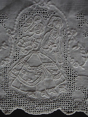 Antique Madeira Hand Embroidery Groom Bride Figure Newlywed Pullwork Guest Towel