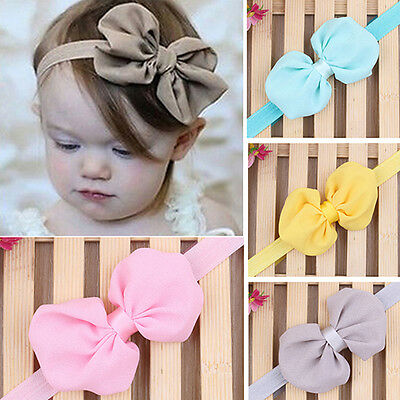 10Pcs Cute Kids Girl Baby Chiffon Flower Bow Headband Hair Band Headwear Worthy
