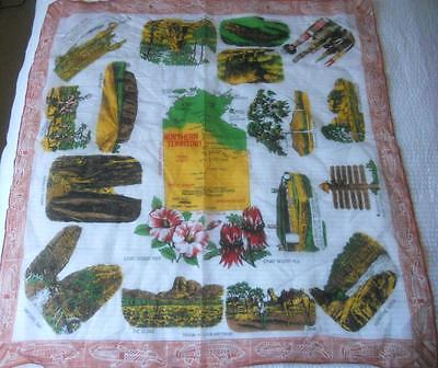 Vintage Nylon Rayon Souvenir Scarf Square Northern Territory Places Of Interest