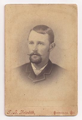 Antique Cabinet Card Photograph Man with Fabulous Goatee Moustache Boonville MO