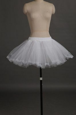White 3 Layer Mini Petticoat Short Dress petticoat underskirt with lace no hoop