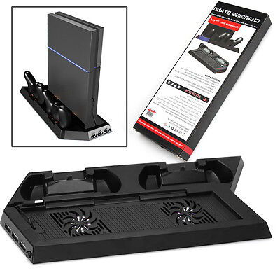 Vertical Stand Dock Cooling Cool Fan Controller Charger For PS4 Playstation 4
