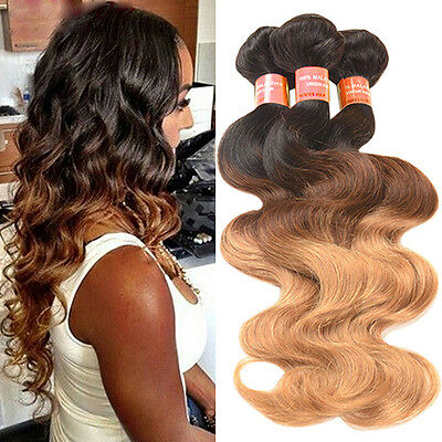 1 Bundle Brazilian Virgin Body Wave Real Human Ombre Weft Hair Extesions Worthy