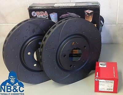 RDA FRONT SLOTTED/DIMPLED ROTORS & BREMBO PADS suit MITSUBISHI EVO 5 6 7 8 & 9