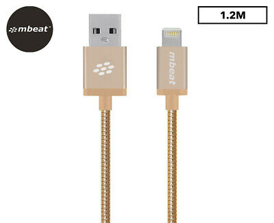 mbeat Toughlink 1.2m MFI Metal Braided Lightning USB Cable - Gold