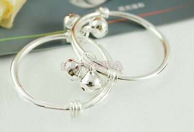 Lovely   2pcs Silver S92.5% Sterling Plated Baby Kid Bell Bangle Bracelet 3CRE