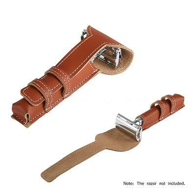 New Brown Cowhide Safety Razor Leather Case Double Edge Shaving Pouch J5H8