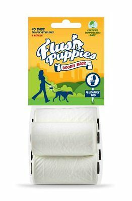 Flush Puppies Doodie Bags Flushable Compostable Dog Waste Refill Rolls 40 bag