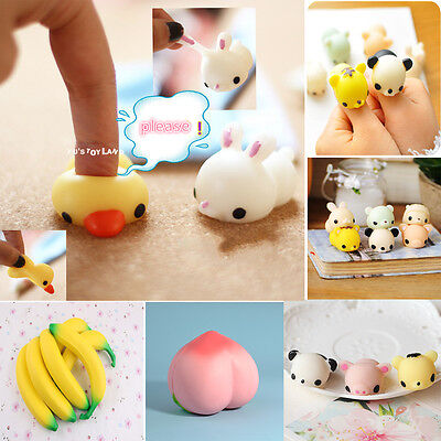 Mochi Adorable Small Animal Banana Peach Squishy Office Stress Relief Jake Gift