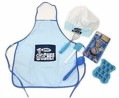 Childrens 7 Piece Chef Set Utensils Apron Hat Kids Kitchen Play Set Pink Blue