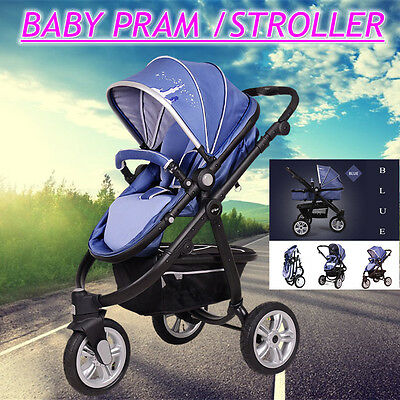 4 in 1  Baby Pram Stroller Pushchair Car Seat Carrycot Travel System Buggy Blue