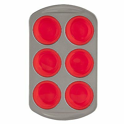 Morphy Richards Red Silicone 6 Muffin Tin / Tray - Easy Flexible Bakeware
