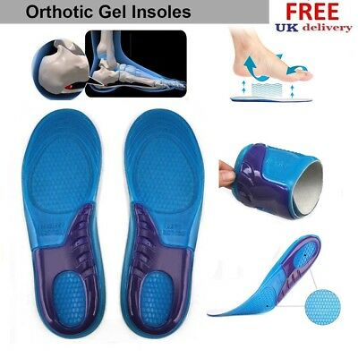 Women Men Silicon Gel Insoles Orthotic Massaging Foot High Arch Support Cushion