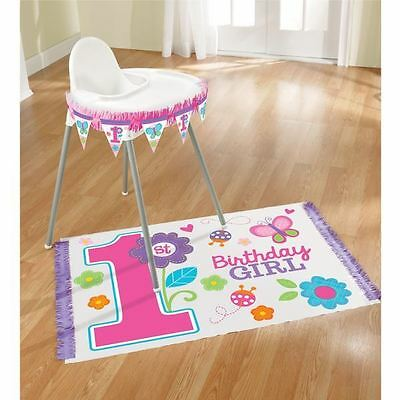 Pink Butterfly Girl's Happy 1st Birthday Party High Chair Decorating Kit