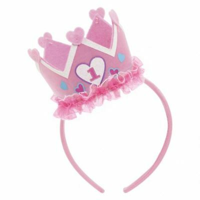 1st Birthday Pink Headband with Crown Baby 1st Party Favour Hat