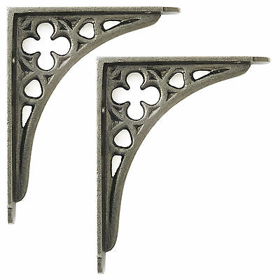 "Pair of Mini Cast Iron Victorian Gothic Shelf Brackets antique style 4"" / 10cm"