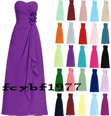 Long Chiffon Formal Evening Party Ball Gown Prom Bridesmaid Dresses Size 6-26
