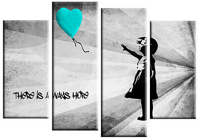 EXTRA LARGE BANKSY GIRL BALLOON TURQUOISE GREY CANVAS PICTURE SPLIT WALL ART 5ft