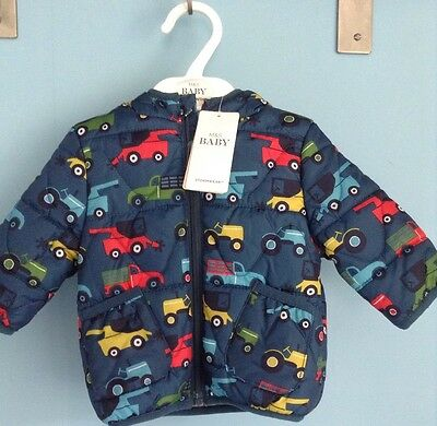 Bnwt Baby Boys Hooded Jacket, Anorak,Trucks, Age 0-3 Months, Teal Mix