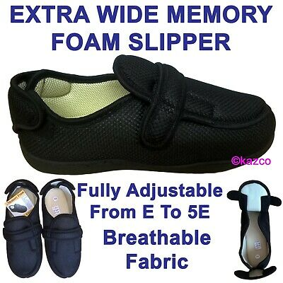 Extra Wide Slippers E / 5E Memory Foam Touch Fastening Mens Ladies Woman 3 To 12