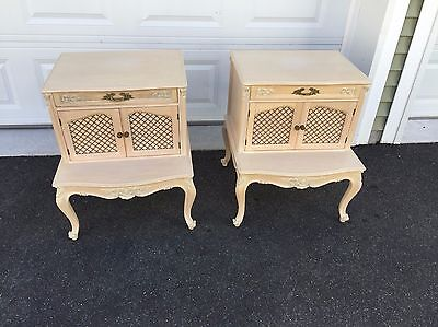 Pair of French Provincial refinished Nightstands with Mesh Screens Vintage