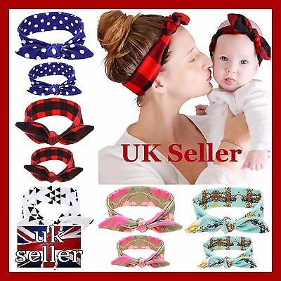 Matching Mum Mother Baby Toddler Headband Top Knot Hairband Set New Mum Gift