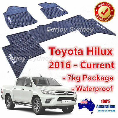 Dust Proof Rubber Floor Mats Custom Made for Toyota Hilux 2016 - 2017 Dual Cab