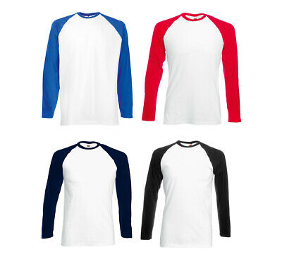 Longsleeve Baseball T-Shirt Langarm T-Shirt Raglan Fruit of the Loom