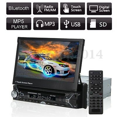 "Car Stereo DVD CD Player In-Dash Audio Radio Single 1 DIN 7"" Bluetooth Mic FM AM"