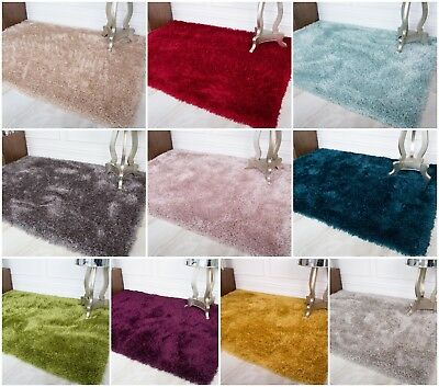 Luxurious Soft Fluffy Shaggy Rugs 5cm Thick Non Shed Solid Rugs For Living Room