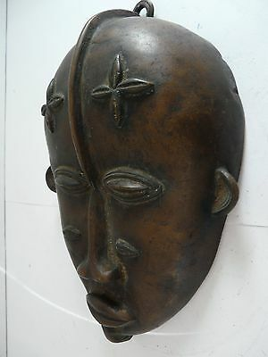 African Tribal Art, Bronze Boule/DAN mask - 9 inches