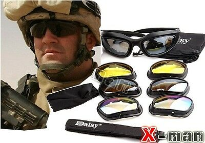 Hunting Ride Army C5 Desert Storm Sunglasses 4 lenses Goggles Tactical Eyewear O