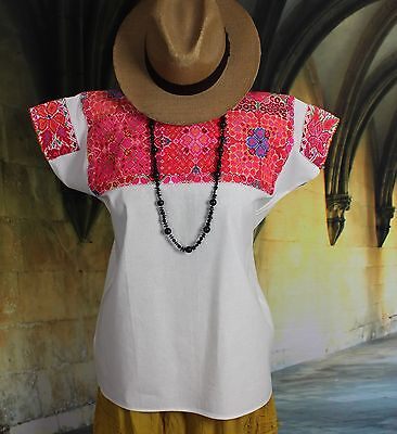 Pink Hand Embroidered Floral Huipil El Bosque Chiapas Mexico Hippie Cowgirl Boho